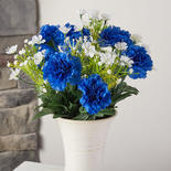 Blue and White Artificial Carnation Bush
