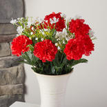 Red and White Artificial Carnation Bush