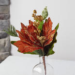 Brown Velvet Artificial Glittered Poinsettia Spray