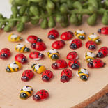Finished Wooden Bumble Bees and Lady Bugs