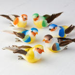 Assorted Bright Mushroom Birds with Clips