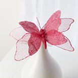 Pink Burlap Butterfly Stem