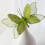 Green Burlap Butterfly Stem