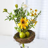 Artificial Daisy Foliage Pick with Nest