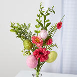 Pink and Green Artificial Egg Pick with Blooms