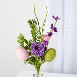 Pink and Purple Artificial Egg Pick with Blooms