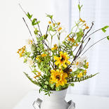 Yellow and White Artificial Daisy Spray