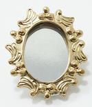 Dollhouse Miniature Oval Gold Mirror