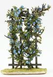 Miniature Flocked Blue Roses on a Trellis