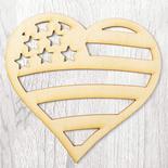 Unfinished Wood Laser Cut Americana Heart