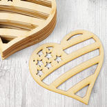 Unfinished Wood Laser Cut Americana Hearts