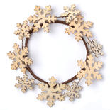 Rustic Wooden Snowflake Candle Ring