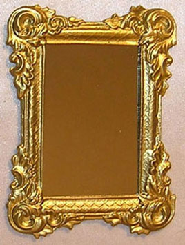 Dollhouse Miniature Ornate Gold Framed Mirror Miniature Home Decor Dollhouse Miniatures Doll Supplies Craft Supplies Factory Direct Craft