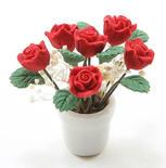 Dollhouse Miniature Red Roses Flower Arrangement