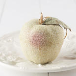 Green and Pink Beaded Apple Ornament