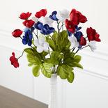 Artificial Patriotic Mini Poppies Bush