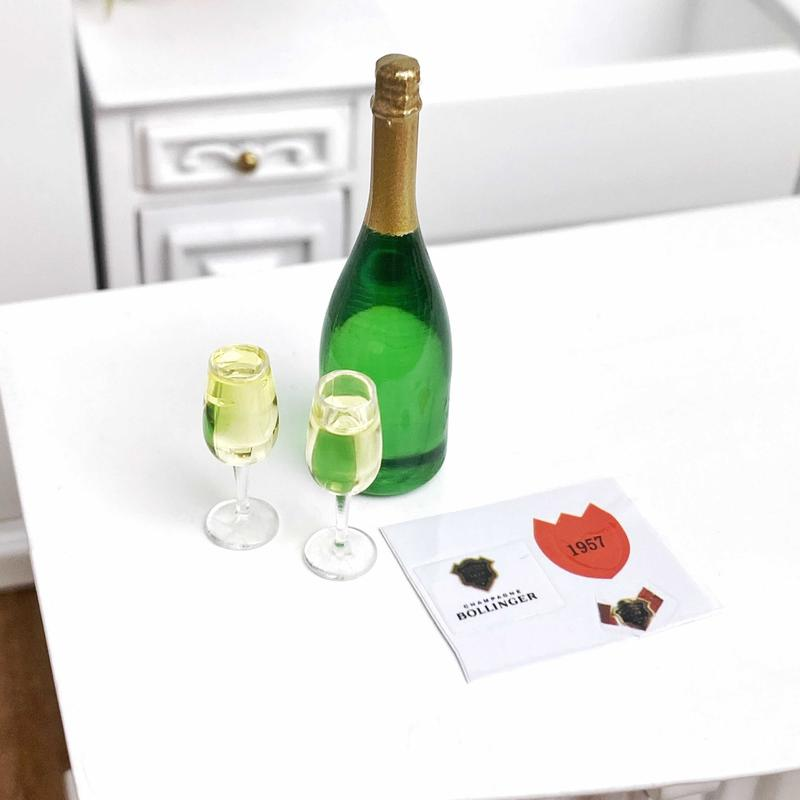 2xResin champagne glass 1:12 dollhouse miniature accessories decoration gift LM