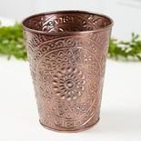 Copper Embossed Medallion Tapered Planter