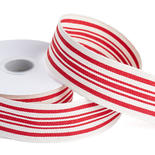 Canvas Red Stripes Wired Edge Ribbon