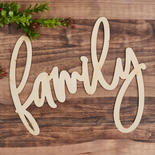 """Unfinished Wood """"family"""" Word Sign"""