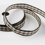 Black Gingham Check Wired Ribbon