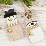 Snowman and Reindeer Wood Ornament Set